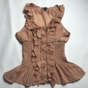 Poetry Sleeveless Ruffled Shirt Brown Size Small